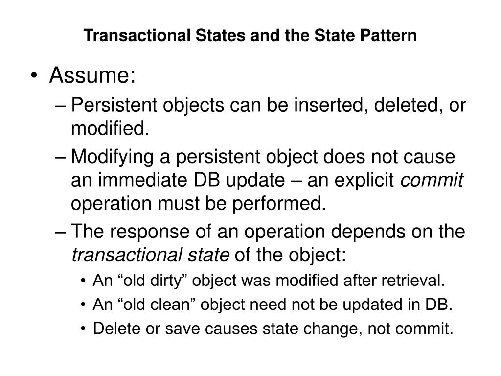 Transactional States and the State Pattern