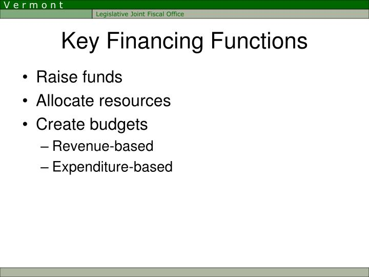 Key Financing Functions