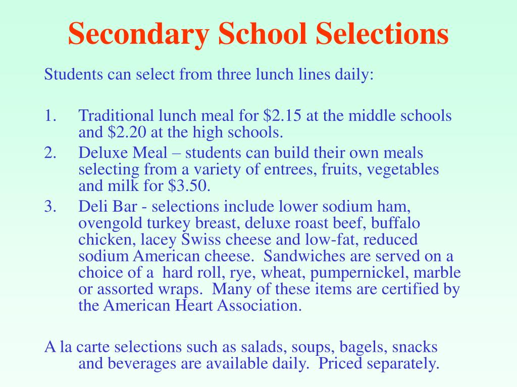 Secondary School Selections
