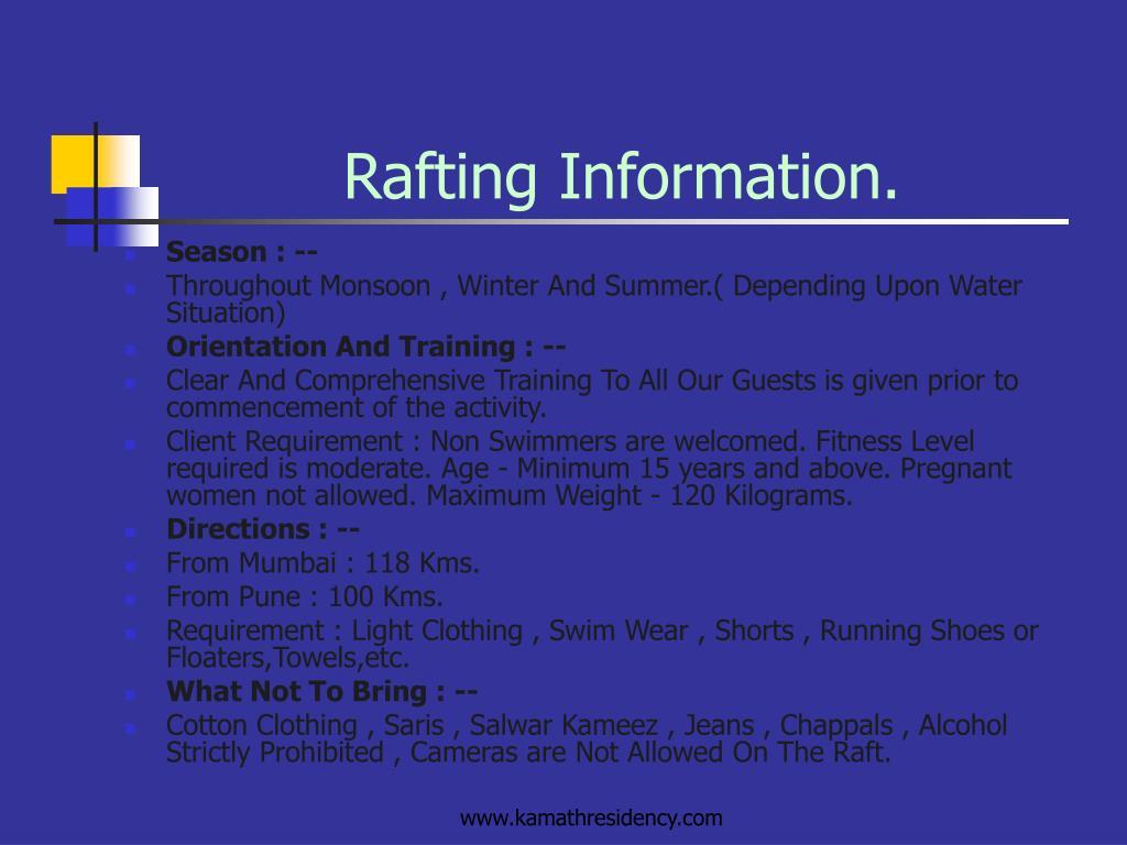 Rafting Information.