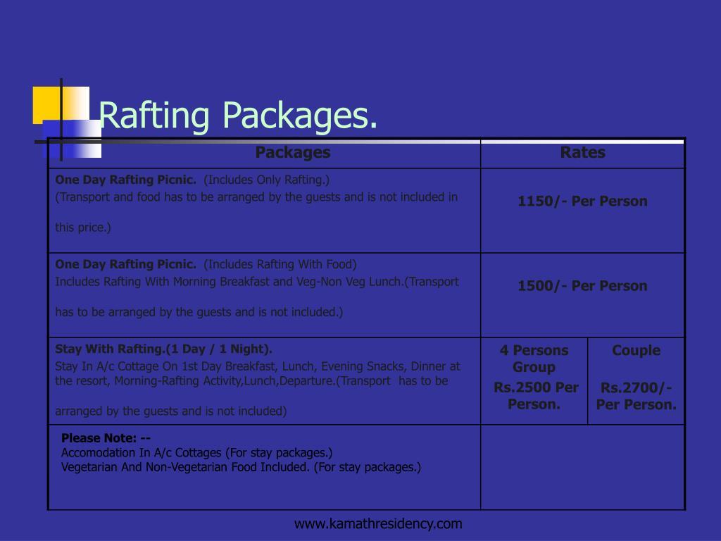 Rafting Packages.