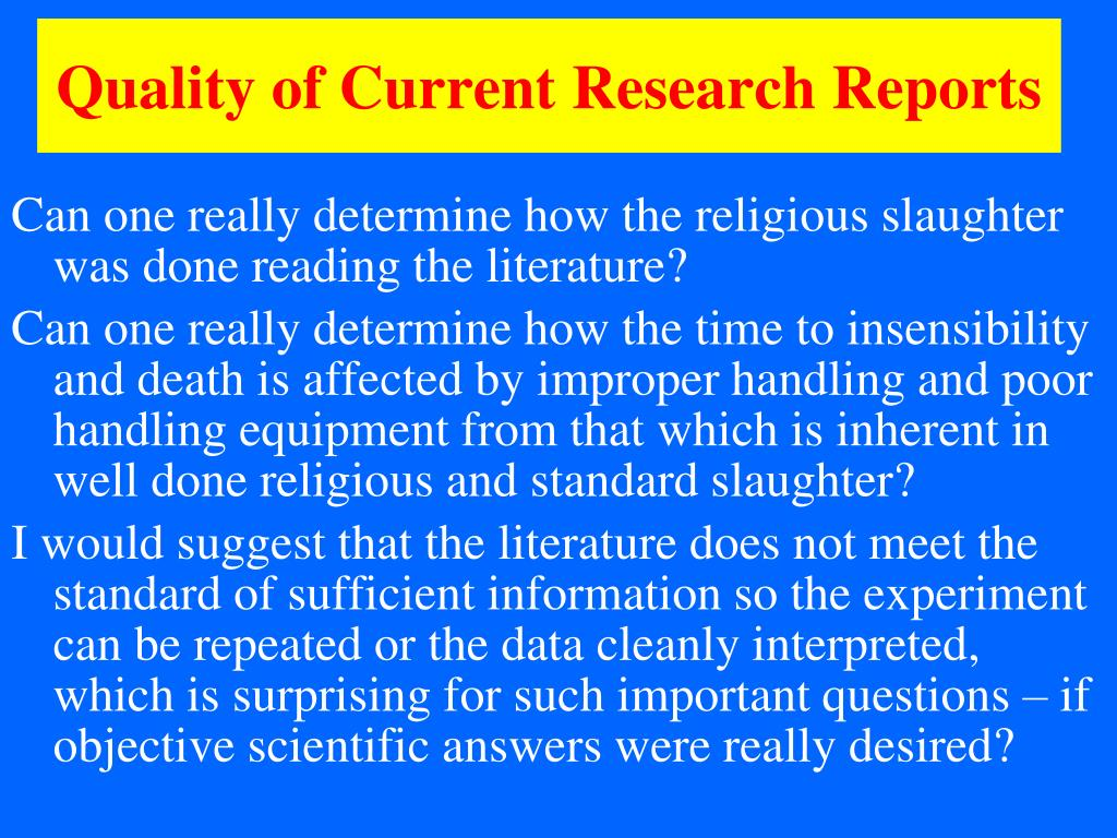 Quality of Current Research Reports