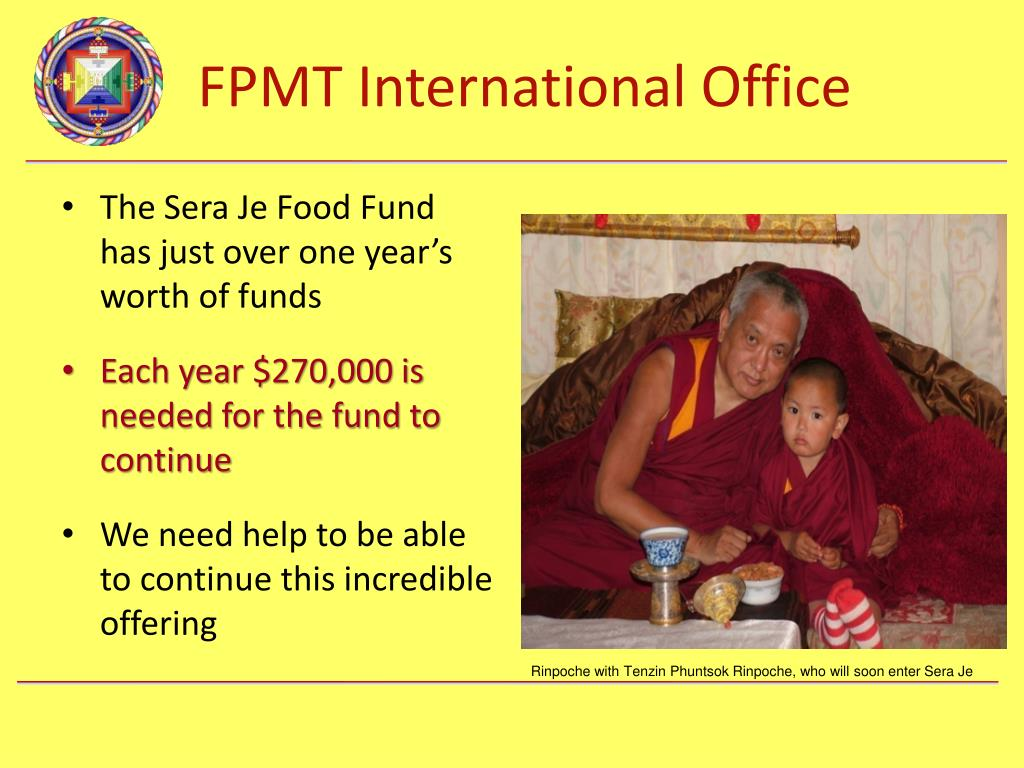 The Sera Je Food Fund has just over one year's worth of funds