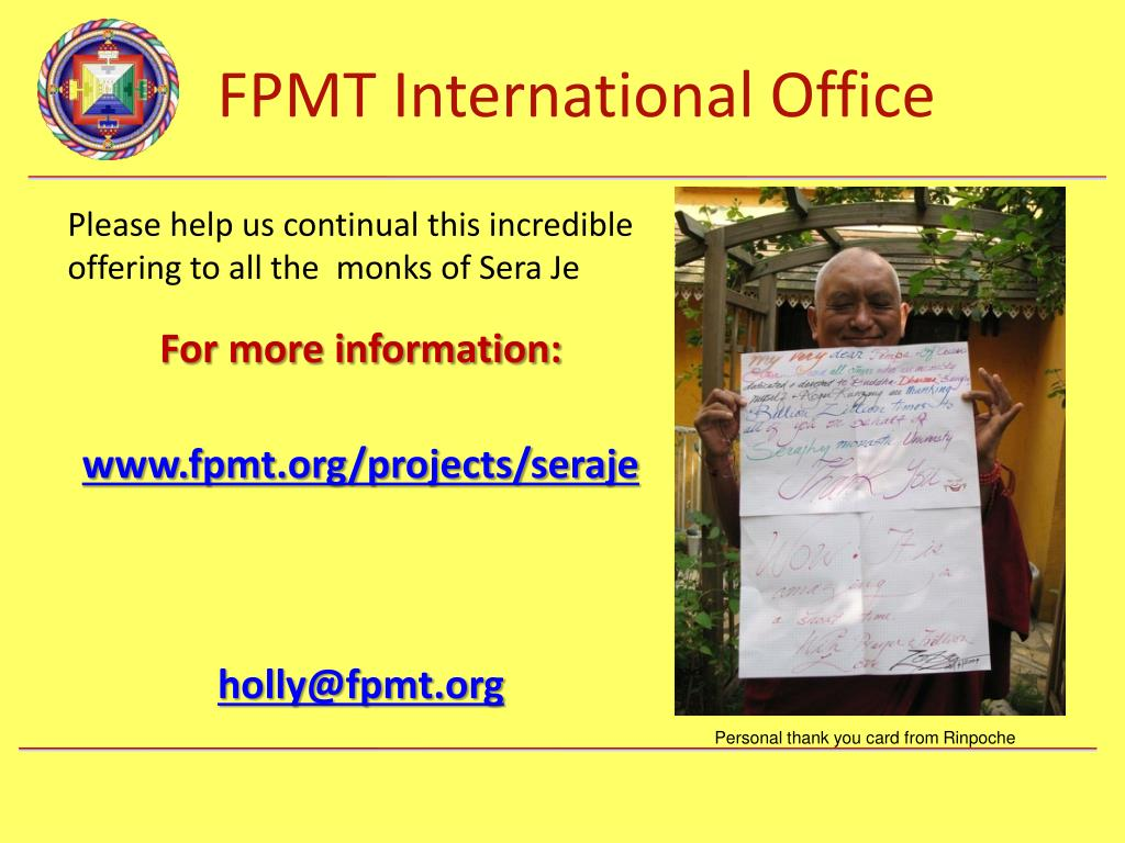 Please help us continual this incredible offering to all the  monks of Sera Je