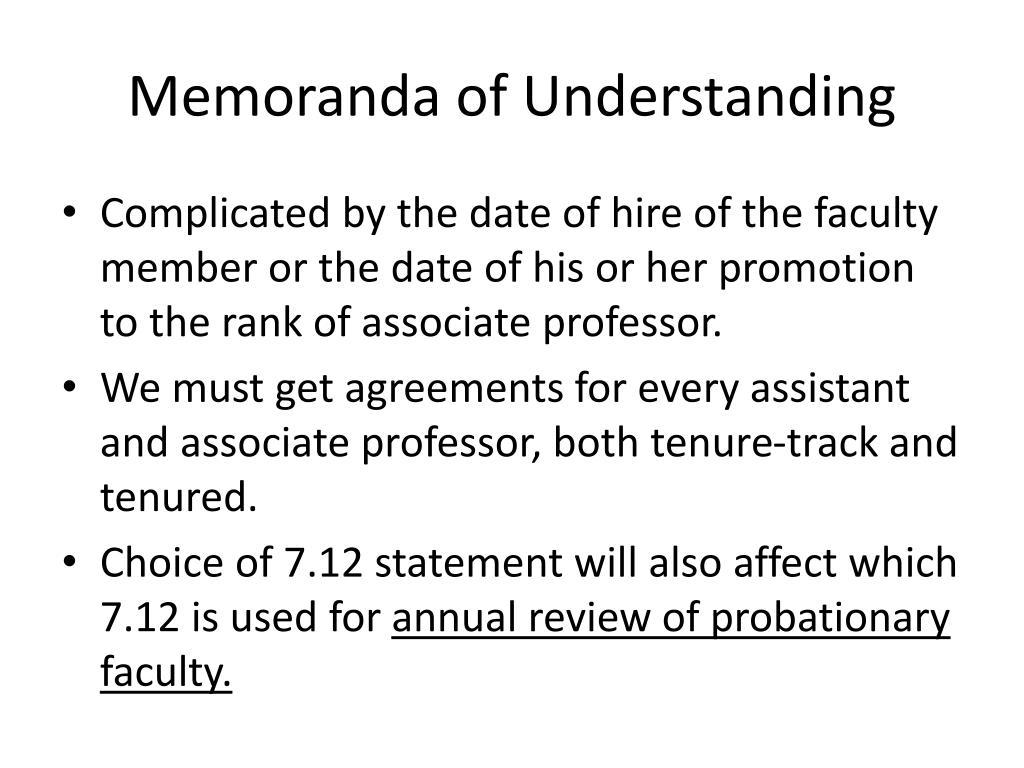 Memoranda of Understanding
