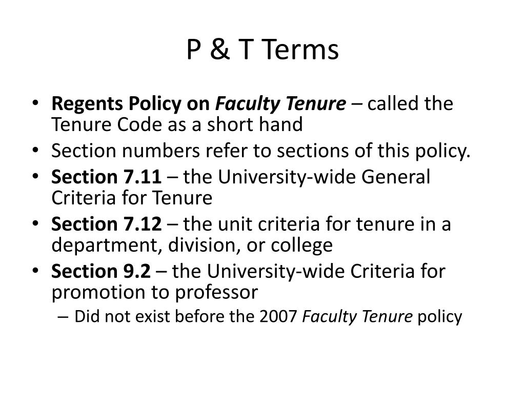 P & T Terms