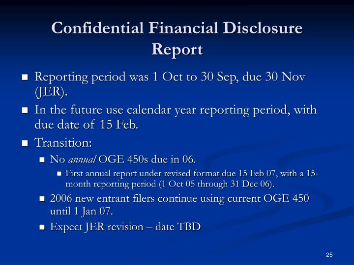 Confidential Financial Disclosure Report