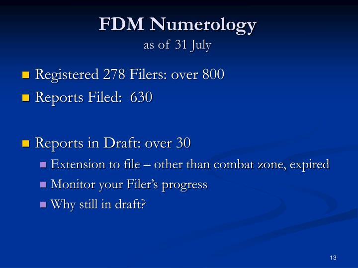 FDM Numerology