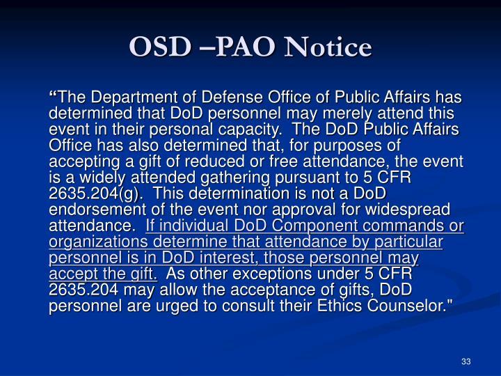 OSD –PAO Notice