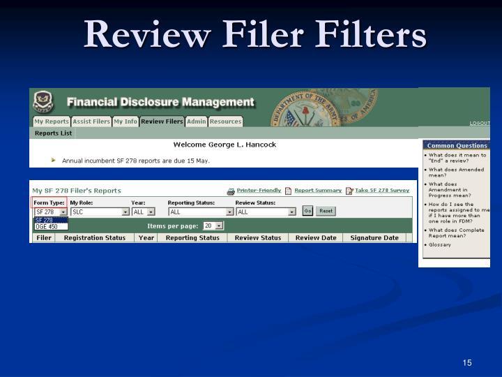 Review Filer Filters