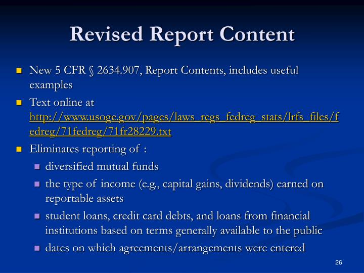 Revised Report Content