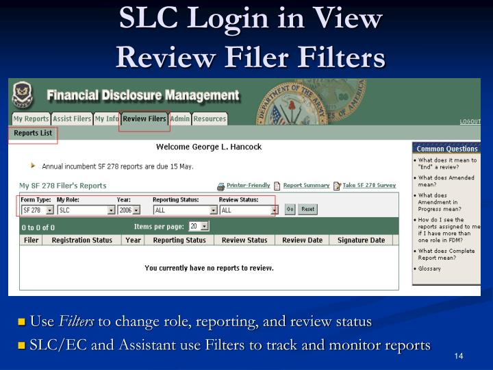 SLC Login in View