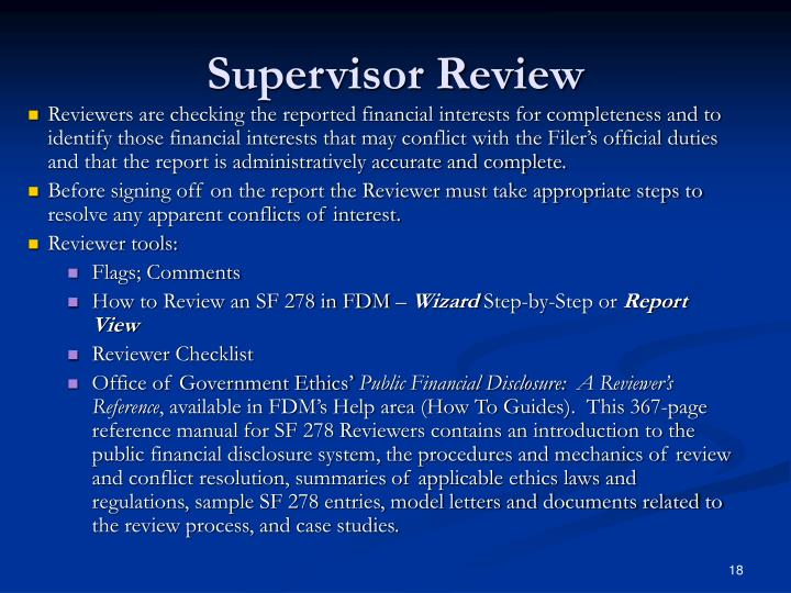 Supervisor Review