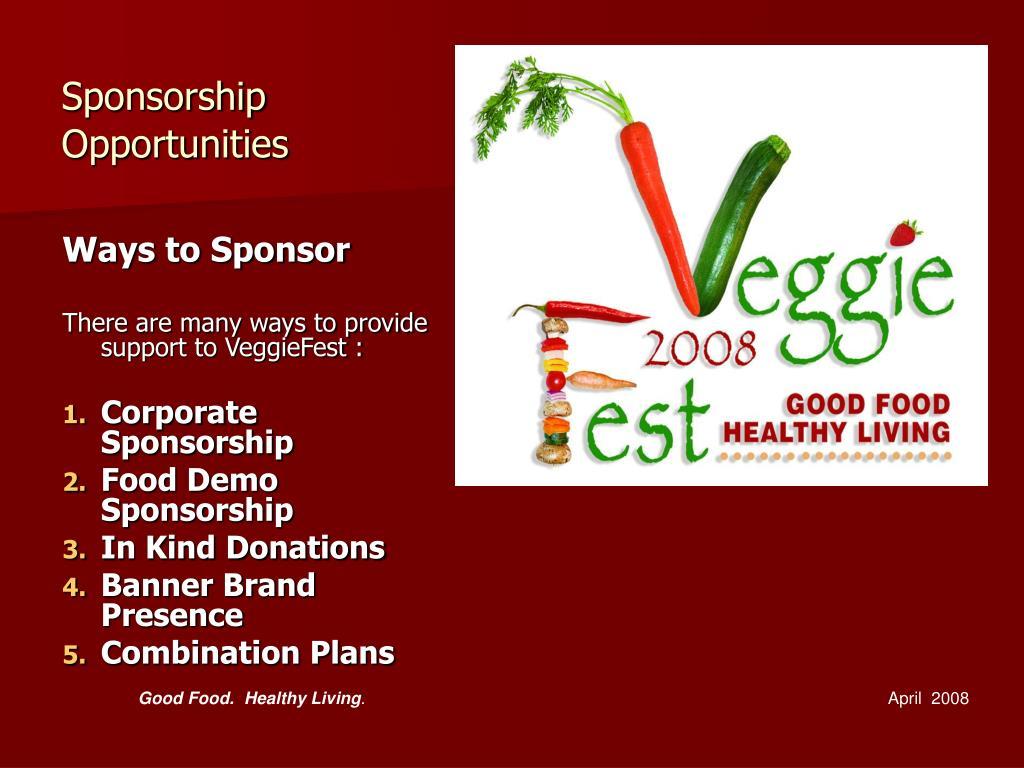 Ways to Sponsor