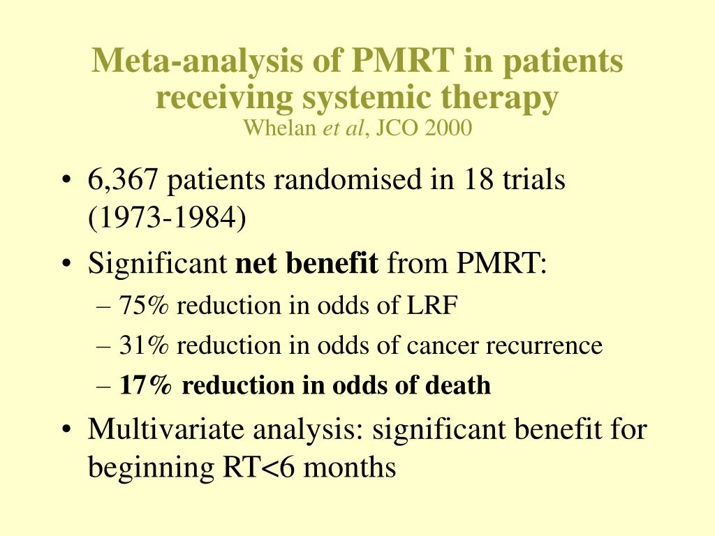 Meta-analysis of PMRT in patients receiving systemic therapy