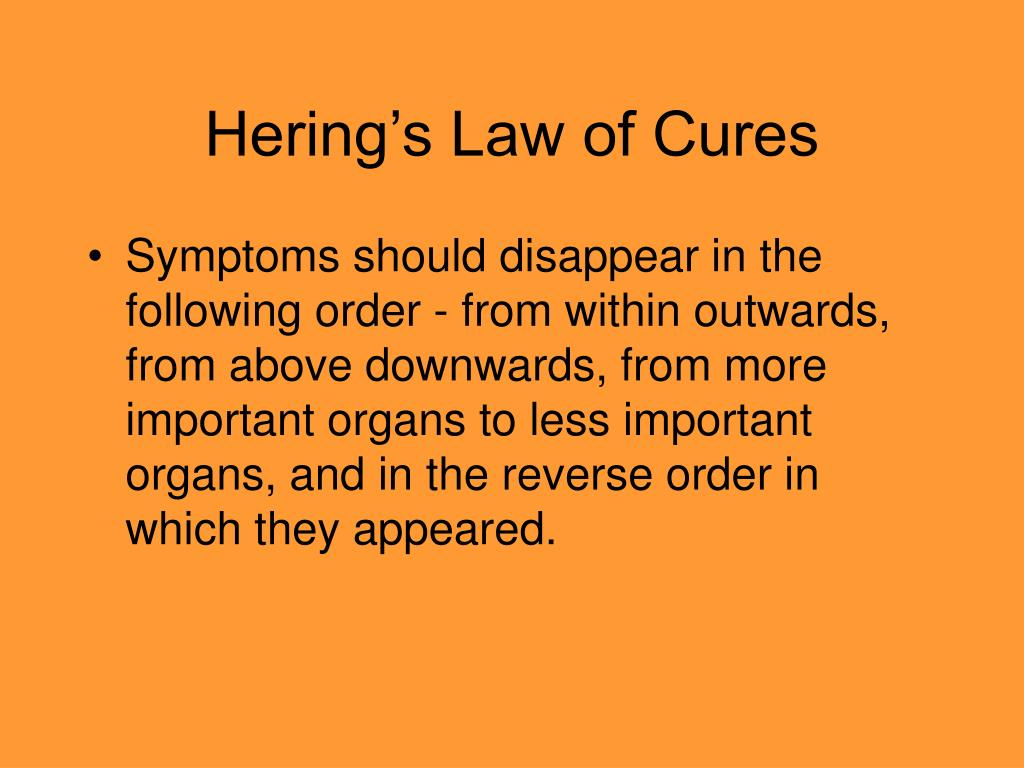 Hering's Law of Cures