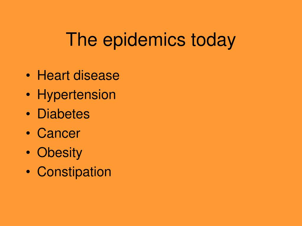 The epidemics today