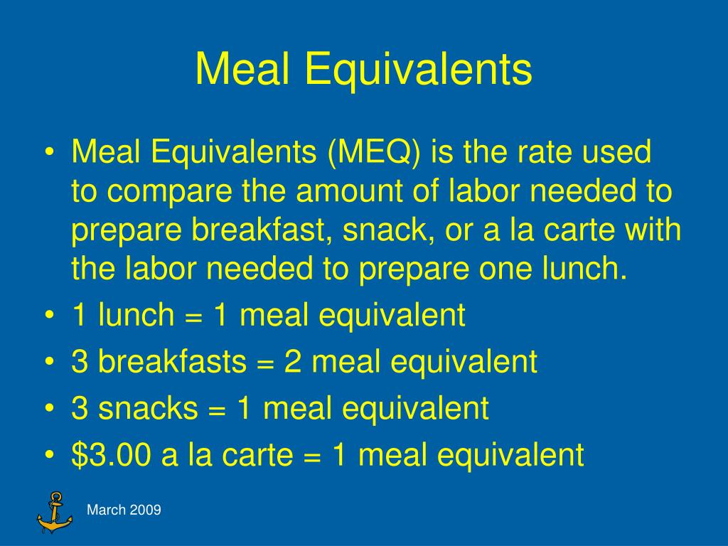 Meal Equivalents