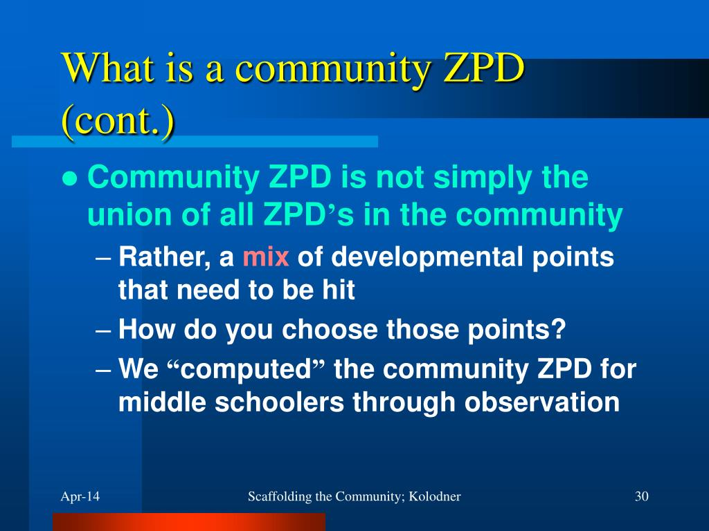 What is a community ZPD (cont.)