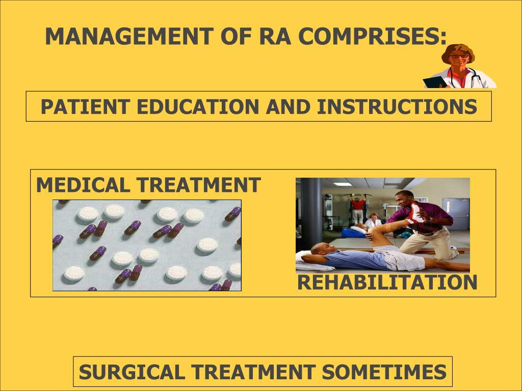 MANAGEMENT OF RA COMPRISES: