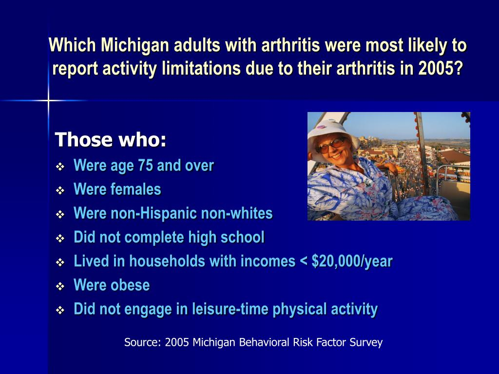Which Michigan adults with arthritis were most likely to report activity limitations due to their arthritis in 2005?