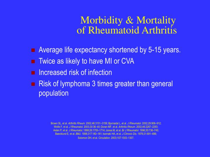 Morbidity mortality of rheumatoid arthritis