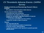 cv thrombotic adverse events carra survey
