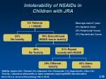 intolerability of nsaids in children with jra