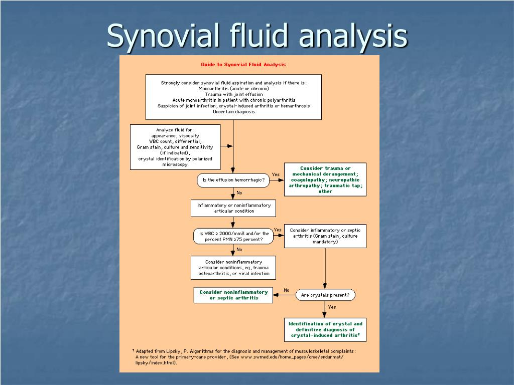 Synovial fluid analysis