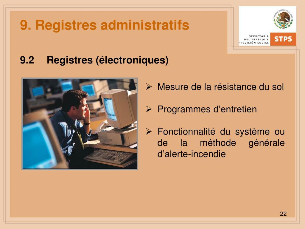 9. Registres administratifs