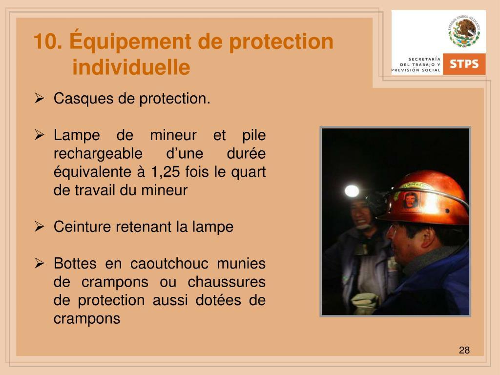 10. Équipement de protection individuelle