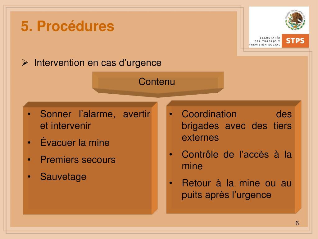 5. Procédures