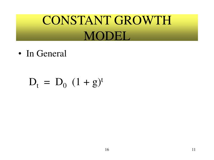 CONSTANT GROWTH MODEL