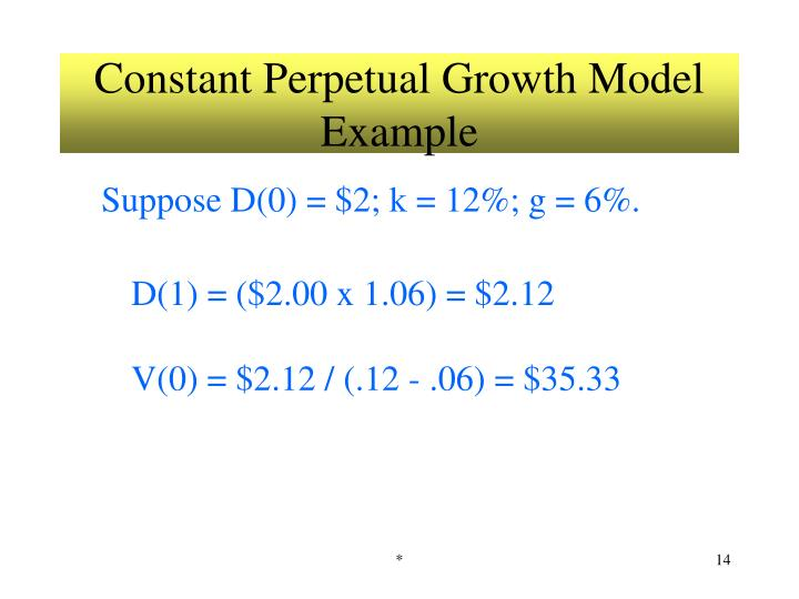Constant Perpetual Growth Model Example