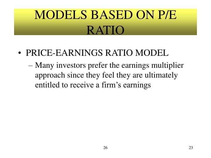 MODELS BASED ON P/E RATIO