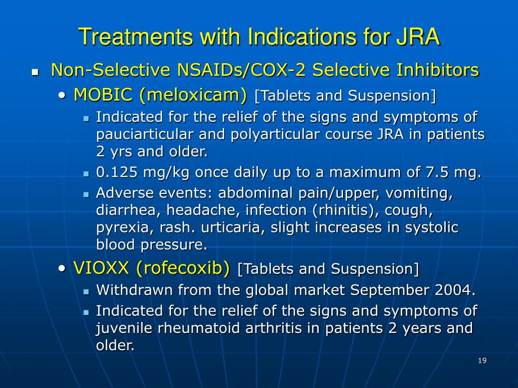 Treatments with Indications for JRA