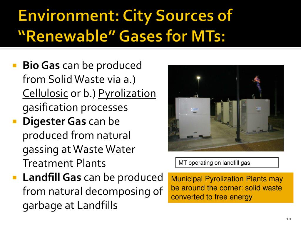 "Environment: City Sources of ""Renewable"" Gases for MTs:"