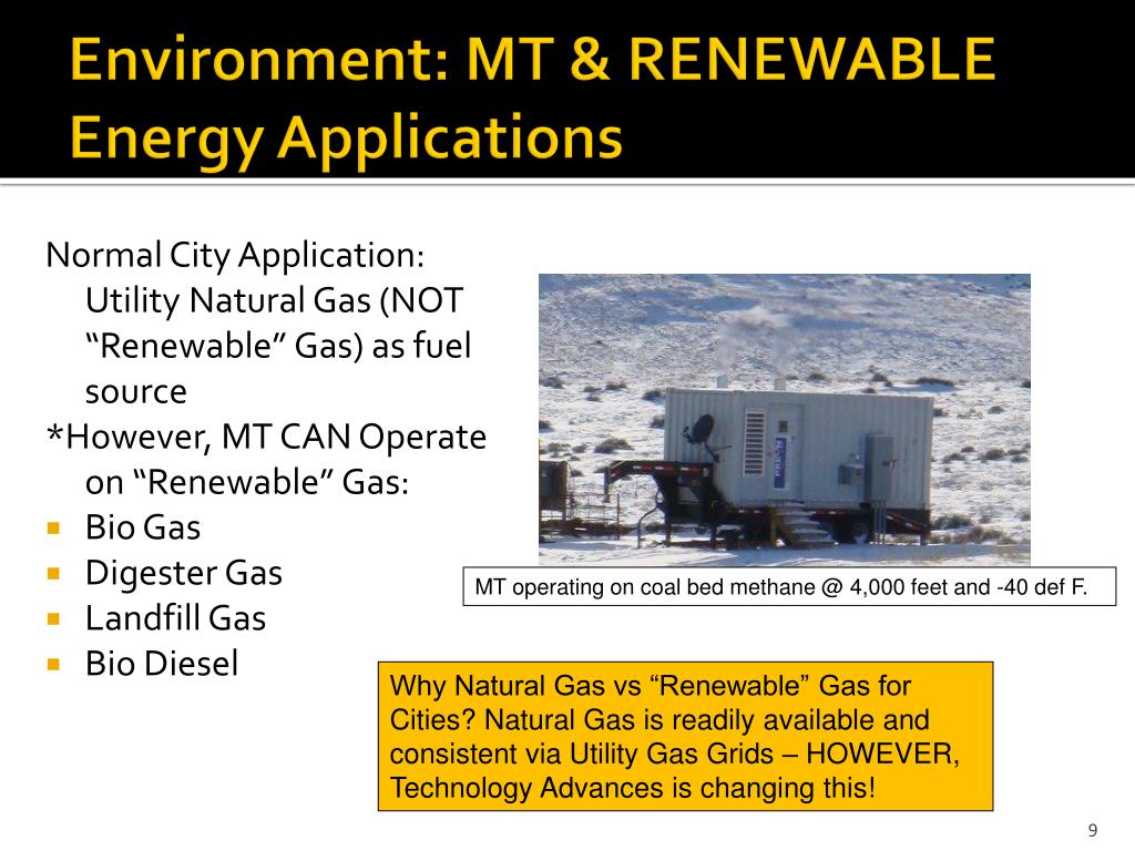 Environment: MT & RENEWABLE Energy Applications