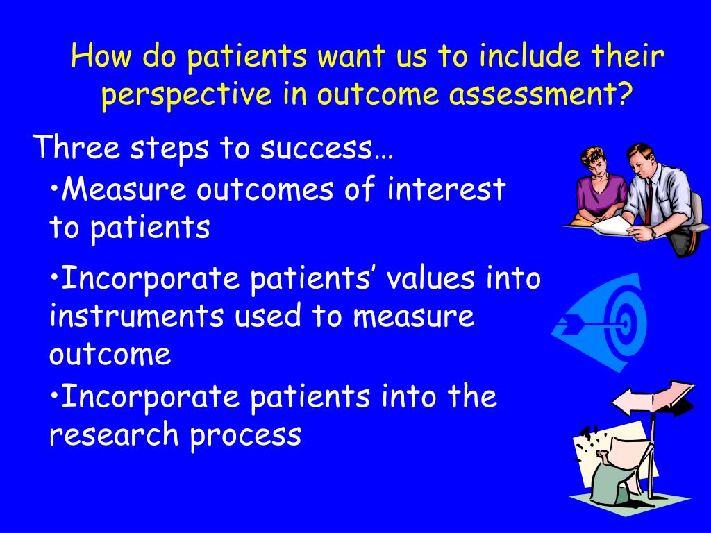 Measure outcomes of interest to patients