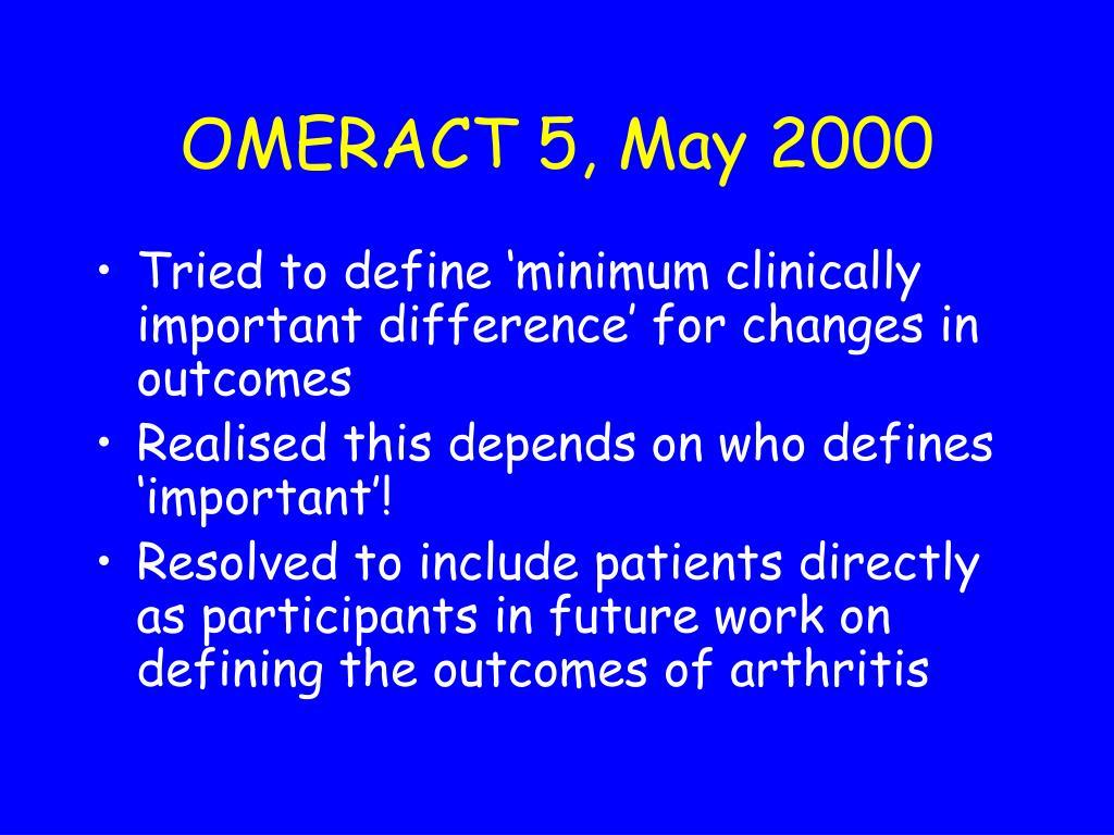OMERACT 5, May 2000