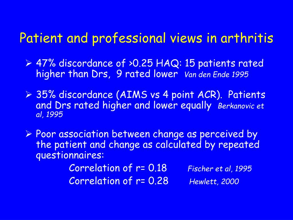Patient and professional views in arthritis