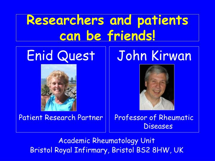 Researchers and patients can be friends3