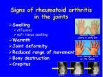 signs of rheumatoid arthritis in the joints