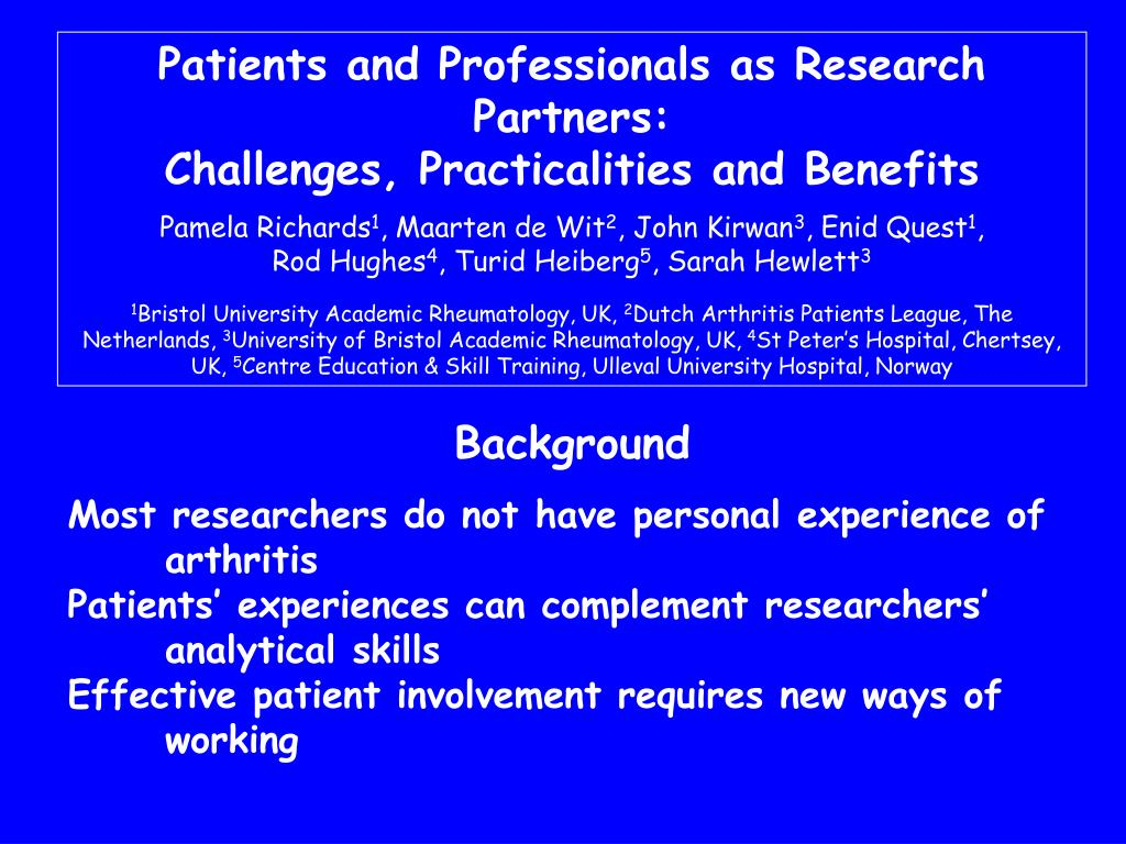 Patients and Professionals as Research Partners: