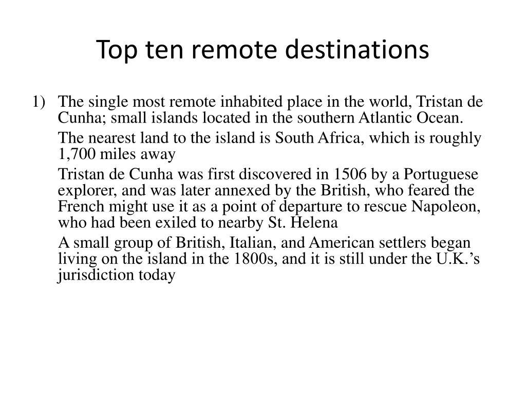 Top ten remote destinations