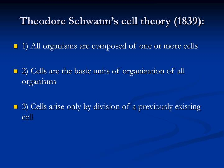 Theodore schwann s cell theory 1839