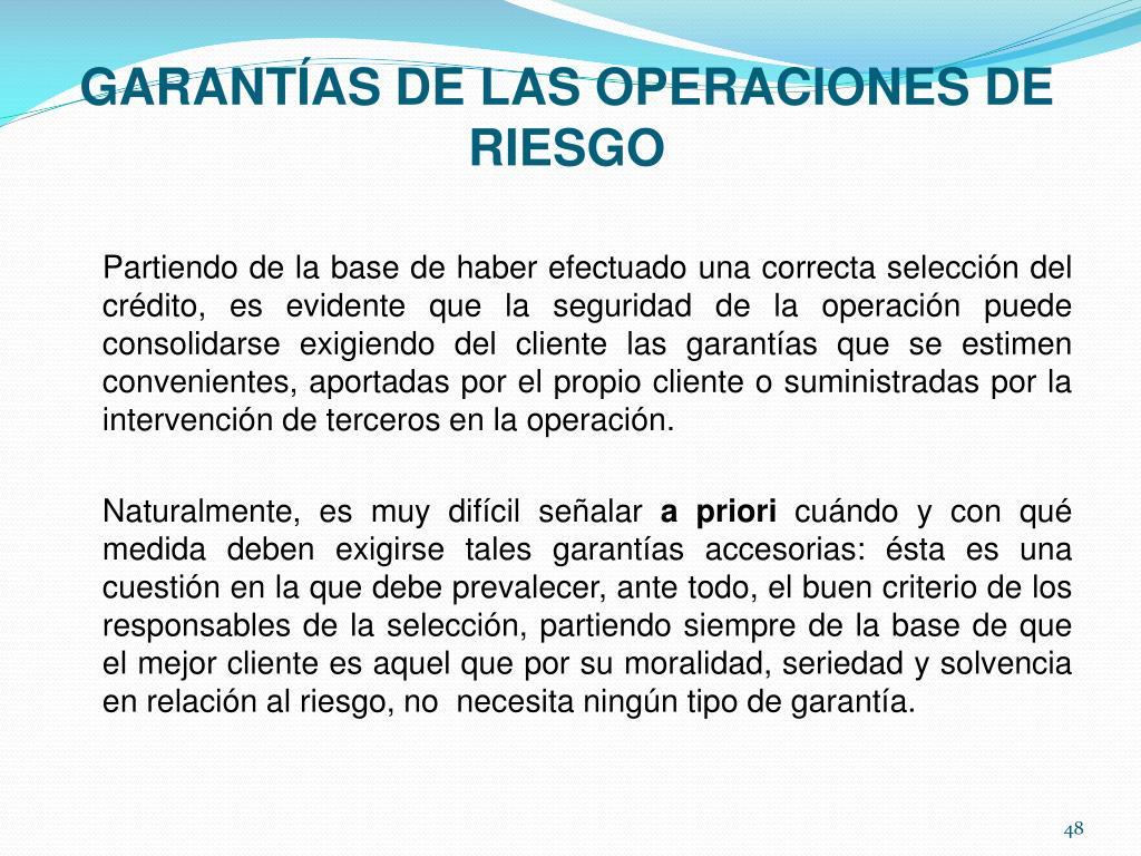GARANTÍAS DE LAS OPERACIONES DE RIESGO