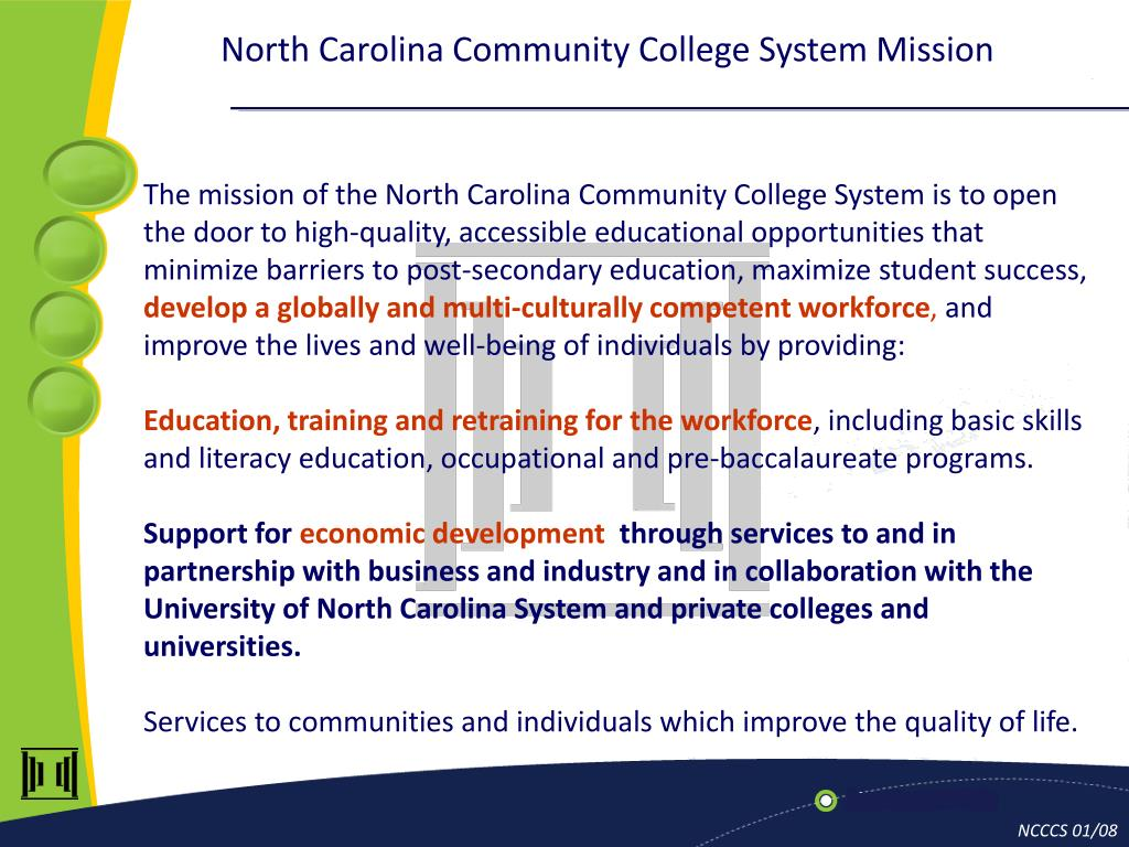 North Carolina Community College System Mission