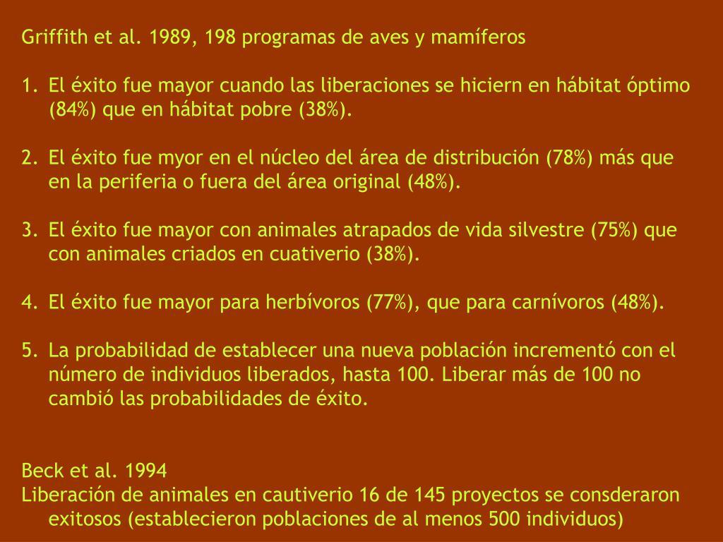 Griffith et al. 1989, 198 programas de aves y mamíferos