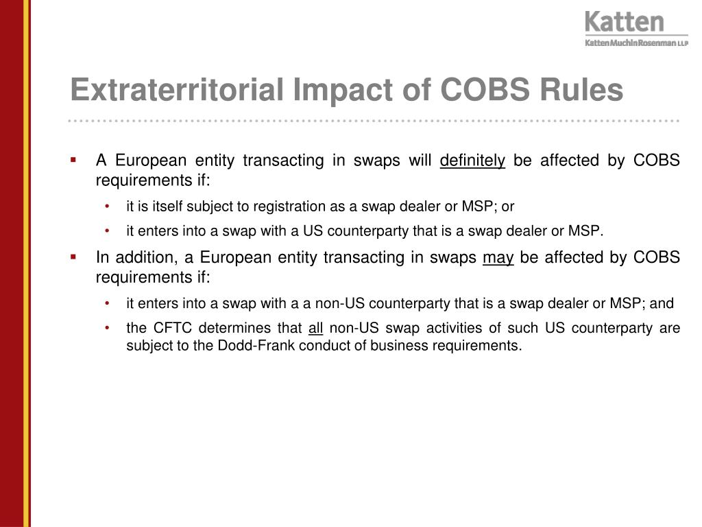 Extraterritorial Impact of COBS Rules